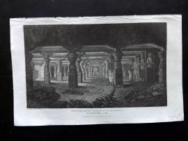 Gallery of Nature 1818 Antique Print. Subterranean Temple of Elephanta, India